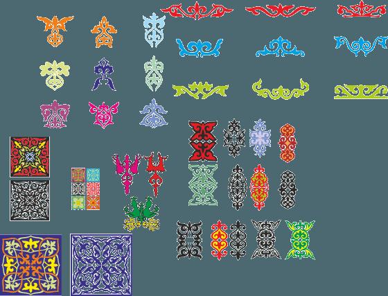 Волейбол материал скачать Png: Орнаменты для казахстанских грамот в векторе, казахские