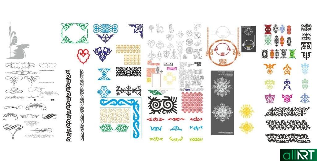Казахские орнаменты для оформления грамот, открыток [CDR]