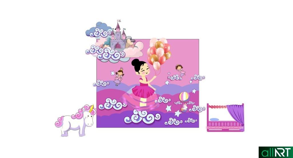 Фотозона для девочки, принцесса, день рождение, 1 жас, 1 год в векторе [CDR]