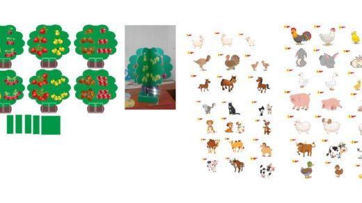 Математика в садик, схема дерева, животные для садика в векторе [CDR]