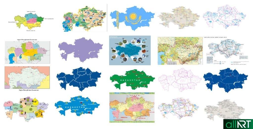 Карты Казахстана в векторе, различные виды [18шт,CDR]
