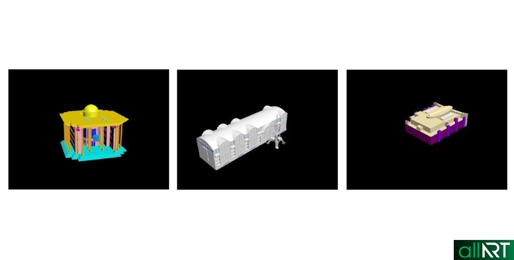 3D здания Алматы, Мега Алмата, Французский дом для печати на 3D принтере [DWG, AutoCAD]