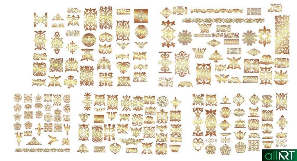 Казахские орнаменты для оформления пригласительных, открыток [PNG,1988х2041px]