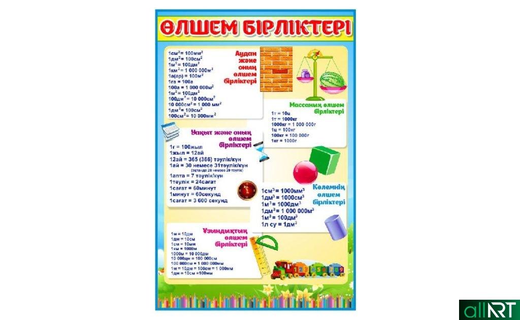 Стенд для детского сада на казахском өлшем бірліктері таблица измерения [CDR]