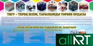 Баннер, плакат для кабинета НВП Казахстана, военный плакат РК вектор