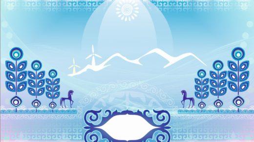 Абстрактный фон с казахскими орнаментами в векторе [CDR]