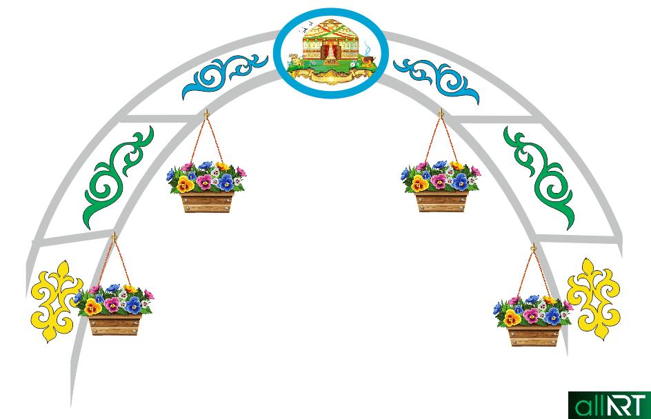 Арка на аллею с казахскими орнаментами [CDR]