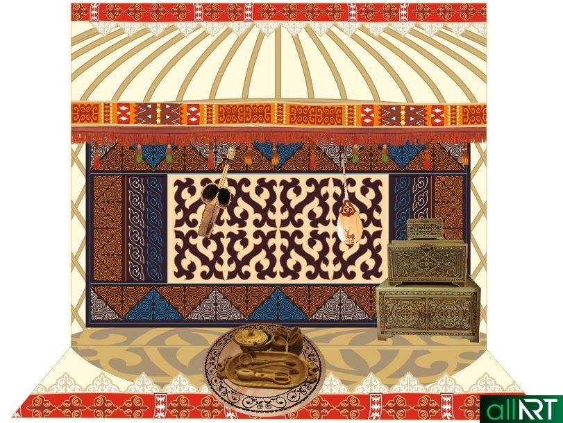 Баннер в стиле юрты, пресс стена векторе [CDR]