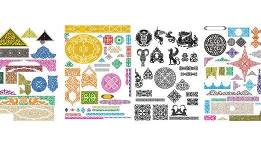 Большой пак красивых казахских орнаментов в векторе [CDR]