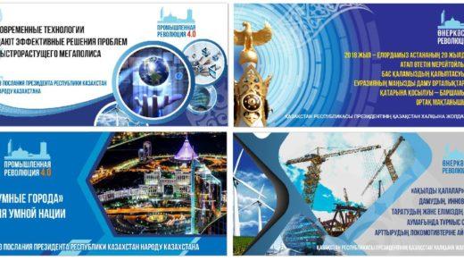 Баннера в векторе промышленная революция 4.0 на русском и казахском [CDR]