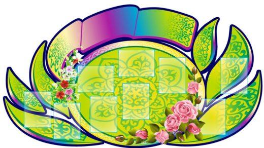 Стенд в виде цветка с казахским орнаментом в векторе [CDR]