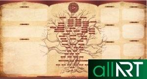 Шежире, плакат, стенд генеалогическая родословная у казахов в векторе [CDR]