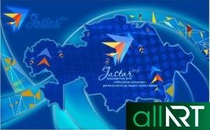 Баннер Жастар 2019 в векторе, год молодежи 2019 Казахстана [CDR]