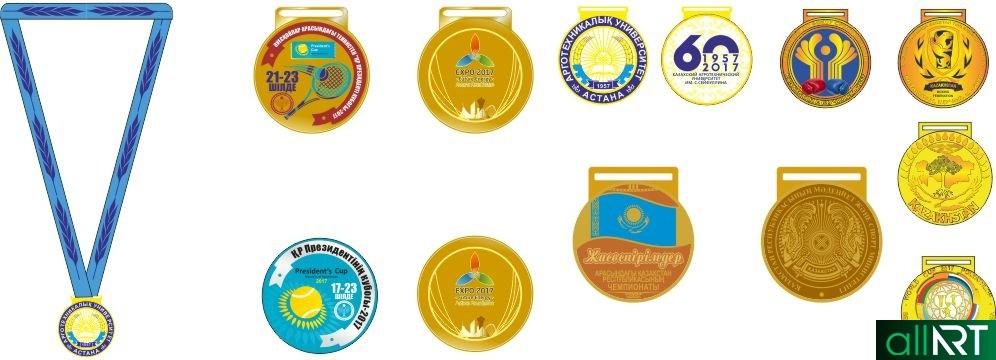Эскизы Казахстанских медалей РК в векторе [CDR]