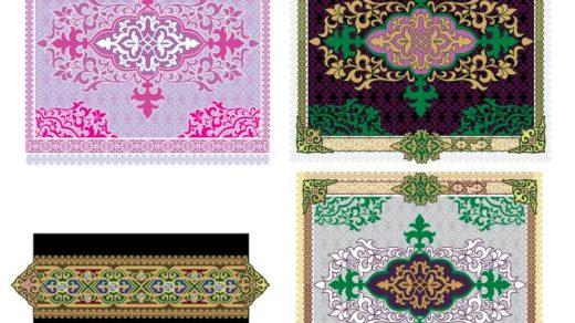 Дизайн казахских орнаментов для ковров, подушки и.тп в векторе [CDR]