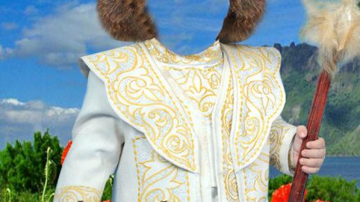 Детский коллаж с национальным казахским костюмом [PSD]