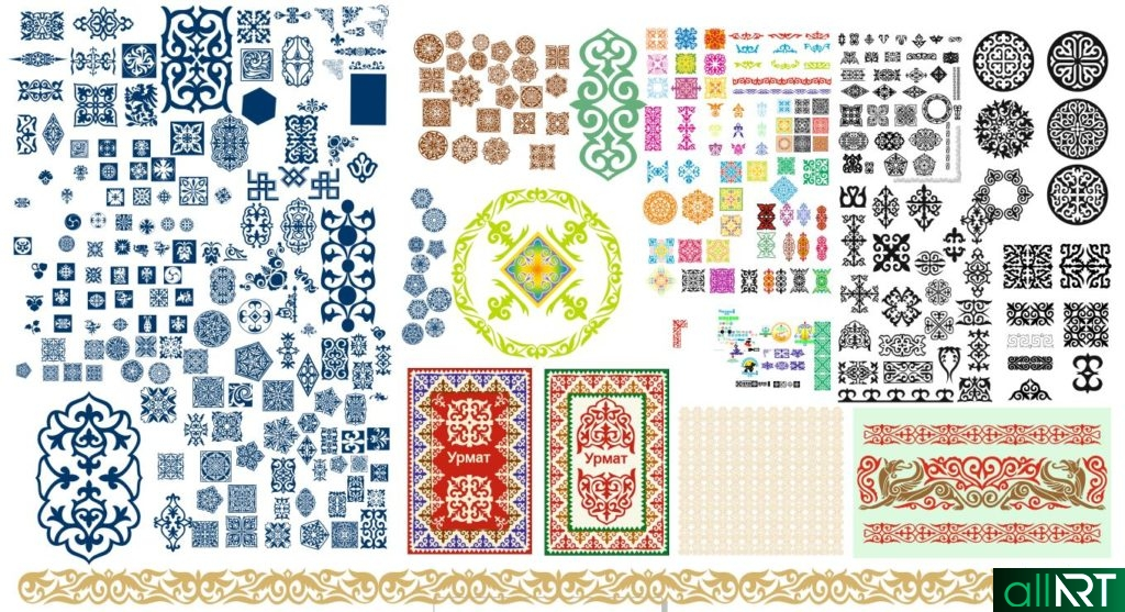 Большой комплект национальных казахских узоров в векторе [CDR]