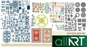 Золотая коллекция казахских узоров, орнаментов для оформления [CDR]