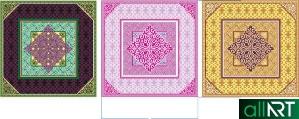 Салфетки в казахском стиле, платок в казахском стиле, казахские орнаменты в векторе [CDR]