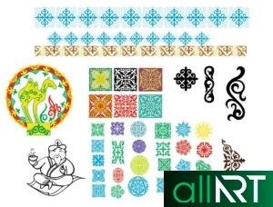 Футаж с казахскими орнаментами, узорами в зеленом цвете [ 720×576, MOV ]