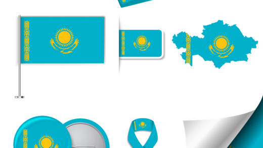 Флаг Казахстана, значок, брелок [EPS, CDR]