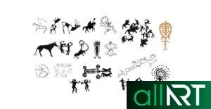 Открытка с наскальными рисунками, петроглифы Казахстана [CDR]