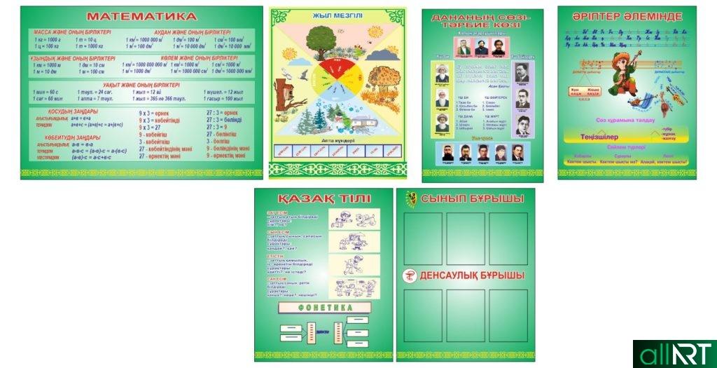 Стенды для начального класса в зеленом фоне [CDR]