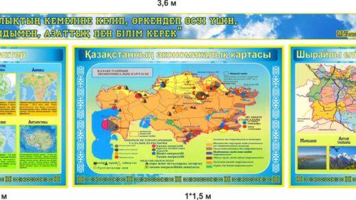 Экономическая карта Казахстана, стенд для кабинета географии в векторе [CDR]