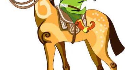 Персонаж, мальчик на коне в векторе [CDR]