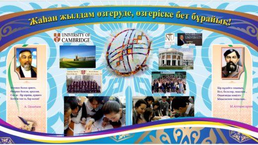 Стенд с казахскими орнаментами, студенты, учеба, Быстрыми темпами перейдём к изменен в векторе [CDR]