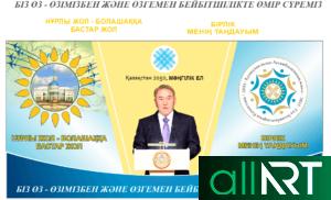 Слова Назарбаева, Баннер с картой Казахстана, Астана [CDR]