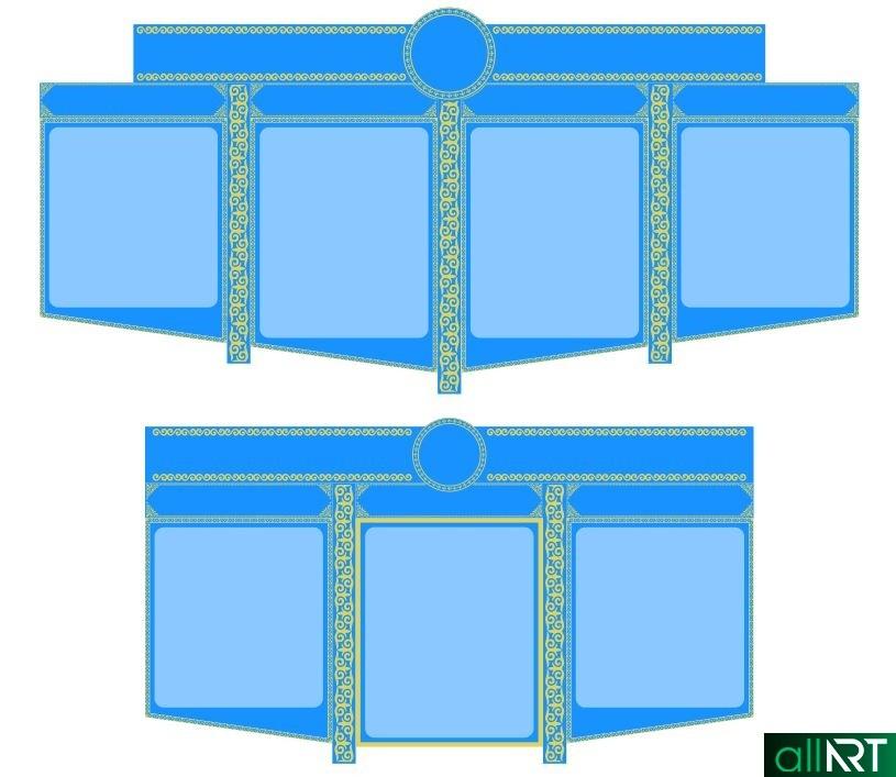 Стенд с казахским орнаментом пустой, шаблон [CDR]