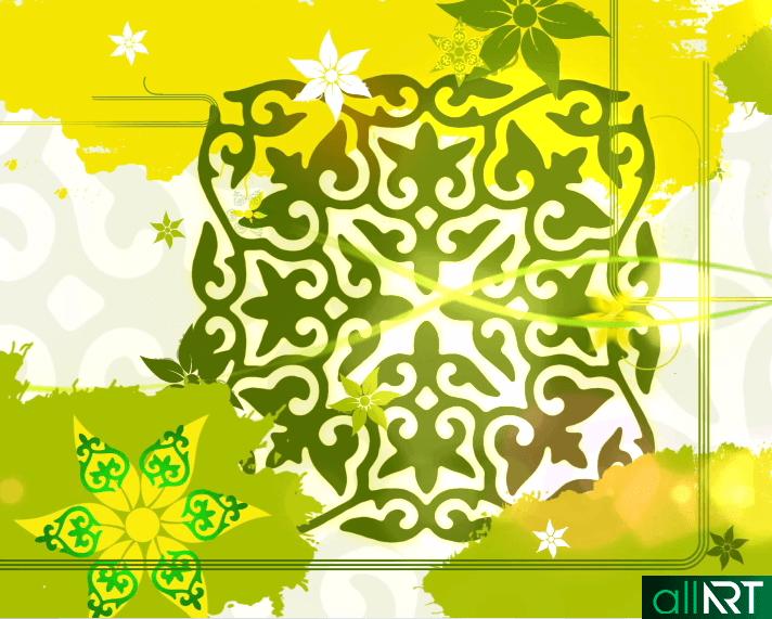 Футаж с казахскими орнаментами, узорами с цветами [ 720x576, MOV ]