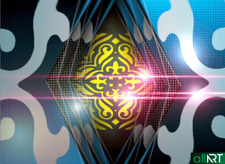 Футаж с казахскими орнаментами, узорами в синем фоне [ 720×576, MOV ]