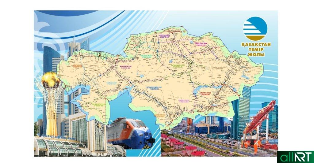 Карта Казахстан со станциями, карта в jpg [CDR]