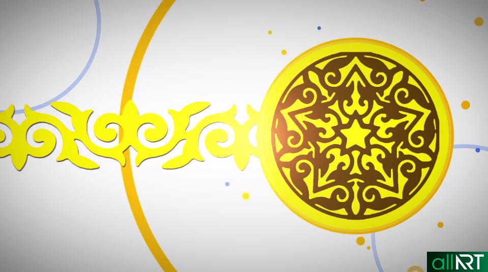 Футаж казахские орнаменты с желтым оттенком [ 960х540, MOV ]