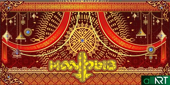 Красивый баннер на Наурыз в казахском стиле [CDR]