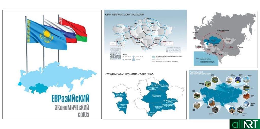 Баннера, стенд евразийский экономический союз , карта Казахстана [CDR]