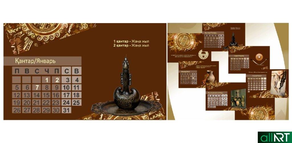 Календарь настольный с казахскими рисунками, орнаменты в векторе [CDR]