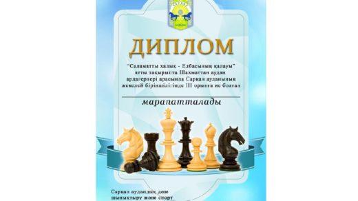 Грамота соревнования по шахматам РК [PSD]