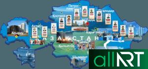 Карта Казахстана с достопримечательностями городов [CDR]