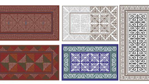 Казахские узоры, орнаменты для ковра, одеяла в векторе [CDR]