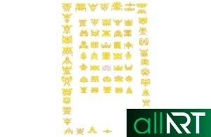 Байтерек в векторе, казахские орнаменты, узоры, наурыз РК лента с казахским орнаментом [CDR]