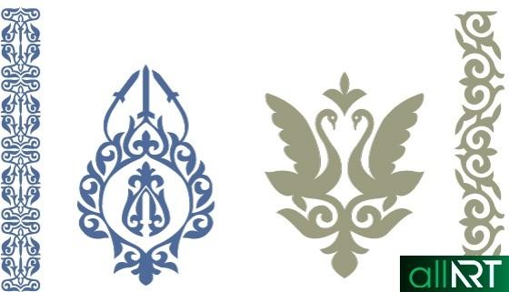 Казахские орнаменты, узоры, лебеди [AI]