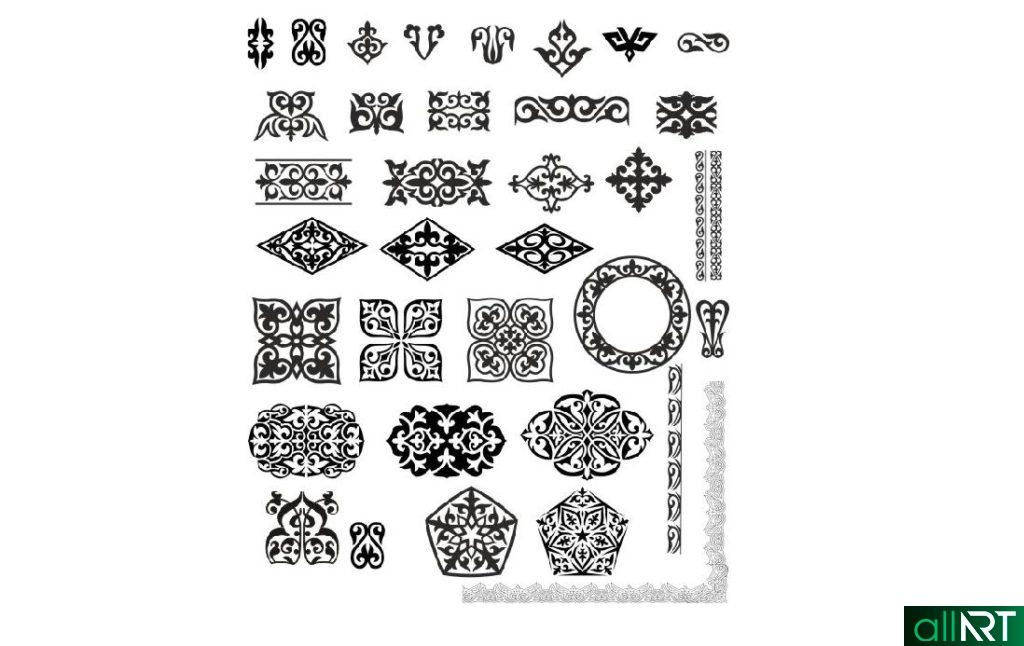 Национальные казахские орнаменты в векторе [CDR]