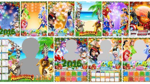 Детские рамки, календарь, новый год РК дисней, шаблоны [PSD, 12шт, 15х10см, 30х40см]