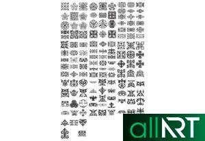 Орнаменты - узоры в векторе, казахские орнаменты [CDR]