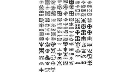 Снежинки в казахском стиле, снежинки орнамент, красивые казахские орнаменты [CDR]