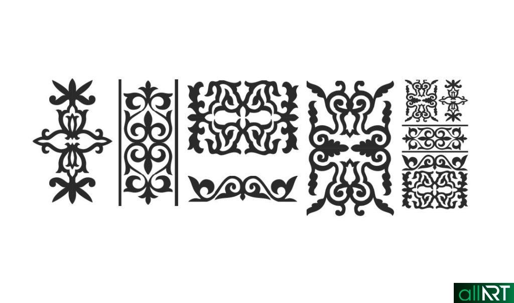 Казахские орнаменты в векторе cdr РК Казахстан [CDR]