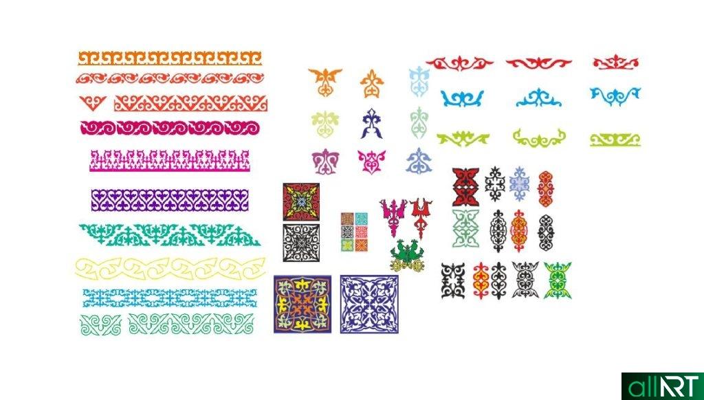 Орнаменты для казахстанских грамот в векторе, казахские орнаменты РК [CDR]